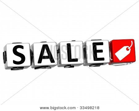 3D Sale Button Click Here Block Text