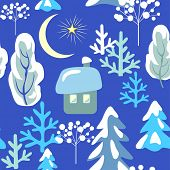 Childish seamless pattern with winter landscape with snowy firs, trees, little house, crescent, star poster