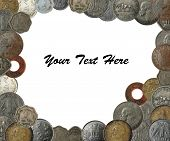 stock photo of gandhi  - New old and antique indian coins as a frame border with copy space - JPG