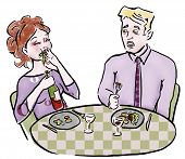 picture of table manners  - Couple eating at restaurant woman stuffing herself - JPG