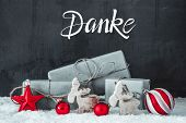 Snow, Gift, Red Decoration, Danke Means Thank You poster