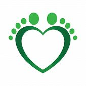 Podiatrist Logo Isolated On White Background With A Green Heart Made Of Feet poster