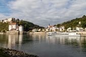 View At Fortress Veste Oberhaus, Danube Shore And Entry Of River Ilz In Passau, Bavaria, Germany In  poster