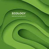 Ecology Paper Cut Poster. Green Eco Abstract 3d Layer Background With Origami Shapes, Minimal Color  poster