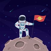 Astronaut On Moon. Spaceman With Flag In Spacesuit Explores Moon Surface. Futuristic Planet In Space poster