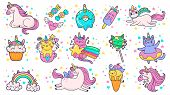 Cute Hand Drawn Patches. Magic Fairytale Pony Unicorn, Fabulous Cat And Sweet Candy Stickers. Ice Cr poster