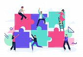 Puzzle Teamwork. People Work Together And Connect Puzzle Pieces, Business Office Workers Team Cooper poster