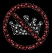 Glowing Mesh No Monarchy With Sparkle Effect. Abstract Illuminated Model Of No Monarchy Icon. Shiny  poster