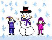 Happy Children With Snowman