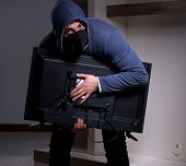 Burglar thief stealing tv from apartment house poster