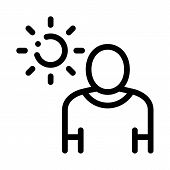 Sun Exposure For Man Icon Vector. Outline Sun Exposure For Man Sign. Isolated Contour Symbol Illustr poster