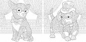 Coloring Page. Coloring Book. Colouring Pictures Set With Chihuahua And Dachshund Dog In Steampunk S poster