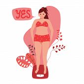 Girl In Underwear On The Floor Scales. She Rejoices That Her Weight Has Decreased. Concept Of Losing poster