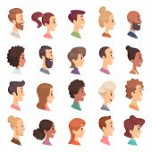 Faces Profile. Avatars People Expression Simple Heads Male And Female Vector Persons Cartoon Illustr poster