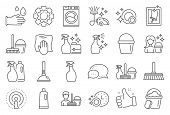 Cleaning Line Icons. Laundry, Window Sponge And Vacuum Cleaner Icons. Washing Machine, Housekeeping  poster