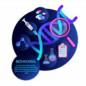 Biohacking Scientific Genetical Research Biological Analysis With Magnifier, Injection Tests, Gene,  poster