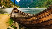 Old Viking Boat On Fjord Shore, Norway poster