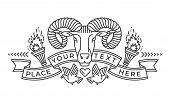 Emblem, Badge With A Ram Head In The Style Of Linear Engravings, Armorial Symbols. In The Style Of L poster