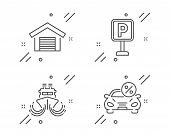 Parking, Ship And Parking Garage Line Icons Set. Car Leasing Sign. Auto Park, Shipping Watercraft, C poster