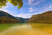 Scenic Nature Landscape Of The Bohinj Lake (bohinjsko Jezero) And Picturesque Mountain Gorge In The  poster