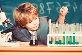 School Education. Explore Biological Molecules. Toddler Genius Baby. Boy Near Microscope And Test Tu poster