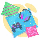 Video Game Background With Joypad, Headphones. Concept Of Social Geek, Hobby, Pastime, Devices Addic poster