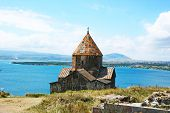 stock photo of apostolic  - The 9th century Armenian monastery of Sevanavank at lake Sevan - JPG