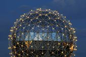 stock photo of geodesic  - geodesic dome of science world Vancouver night scene - JPG