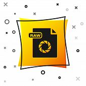 Black Raw File Document. Download Raw Button Icon Isolated On White Background. Raw File Symbol. Yel poster