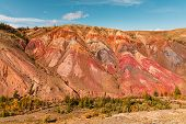 Panorama Gorge In Mountains. Beautiful Landscape Red Mountains In Cloudy Weather. Gorge Martian Land poster
