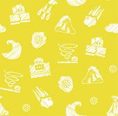 Weather, Natural Disasters, Seamless Pattern, Hatching, Vector, Yellow. Images Of Various Natural Di poster