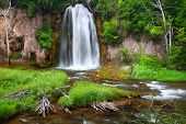 picture of spearfishing  - Summer view of Spearfish Falls in the Black Hills National Forest of South Dakota - JPG