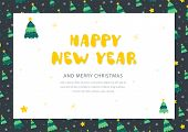 Christmas And New Year Postcard. Holiday Postcard Template. Holiday Letter Concept poster