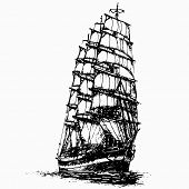 Ship Sailing Yacht Boat Antique Vintage Antique Black Ink Hand Drawing Vector Illustration poster