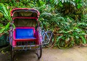 Asian Cycle Ricksha Cart, View On The Seat, Traditional Transportation Of Asia poster