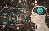 Chemical Molecular Formula Hormone Dopamine. Silhouette Of A Man Head. Connected Lines With Dots Bac poster