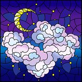 Illustration In Stained Glass Style With Celestial Landscape, Fluffy Cloud On The Background Of Star poster