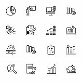 Business Strategy Line Icons Set. Set Of Line Icons On White Background. Economy Concept. Plan, Sche poster
