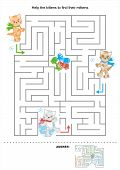 picture of mother goose  - Simple maze for kids with three kittens - JPG