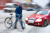 Cyclist On The City Roadway In Motion Blur At Night poster