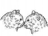 Kiss Of Two Cats Sketch Engraving Vector Illustration. T-shirt Apparel Print Design. Scratch Board S poster