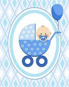Newborn Baby, Boy, Card, Blue Rhombus, Vector. A Little Boy In A Blue Stroller. A Blue Ball Is Tied  poster
