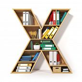 Letter X. Alphabet in the form of shelves with file folder, binders and books isolated on white. Arc poster
