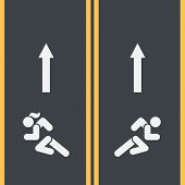 Gender Separation Concept In Sport. Running Track And Runner Symbols Of Men And Woman On Asphalt. Ge poster