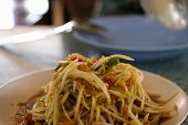The Close Up Somtum. Thai Spicy Green Papaya Salad. Close Up Somtum. Thai Spicy Green Papaya Salad S poster