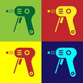 Color Electric Hot Glue Gun Icon Isolated On Color Background. Hot Pistol Glue. Hot Repair Work Appl poster
