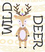 Cute Cartoon Deer In Scandinavian Style. Childish Print For Nursery, Kids Apparel, Poster, Postcard. poster