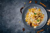Biryani Rice (vegetable Biryani). Indian Basmati Rice, Curry Vegetables And Spices. Indian Kitchen poster