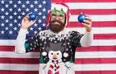 Being American Can Be Fun. Bearded Man Have New Year Fun. Patriotic Santa On Star Spangled Banner. F poster