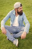 Hipster Lifestyle. Cool Hipster With Beard Wear Stylish Baseball Cap. Brutal Handsome Hipster Man Re poster